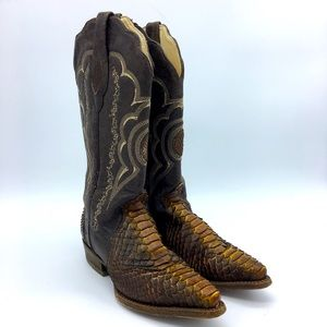 Cuadra size 8 brown leather snakeskin western boot